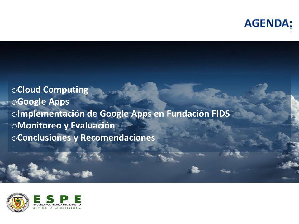 o Cloud Computing o Google Apps o Implementación de Google Apps en Fundación FIDS o Monitoreo y Evaluación o Conclusiones y Recomendaciones
