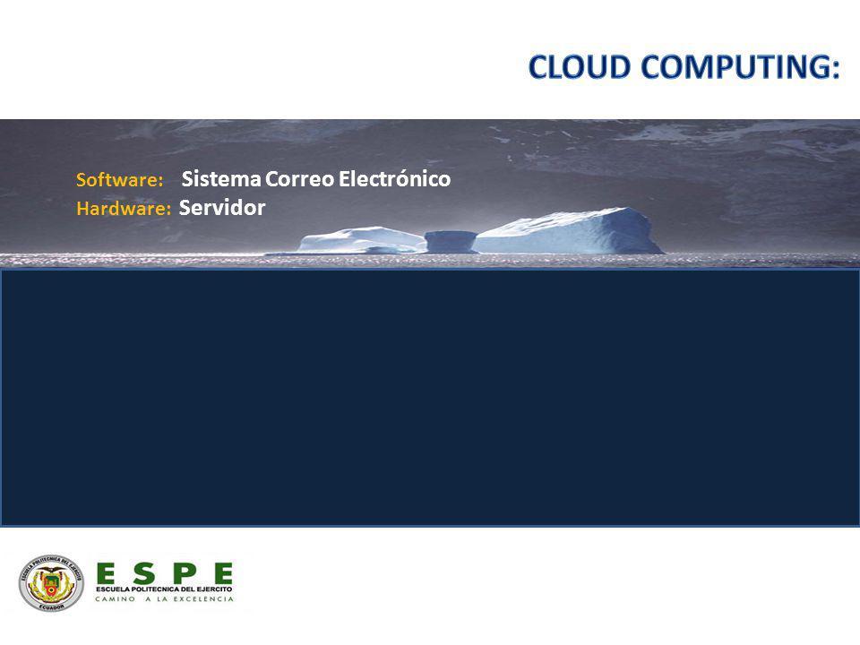 Software: Sistema Correo Electrónico Hardware: Servidor