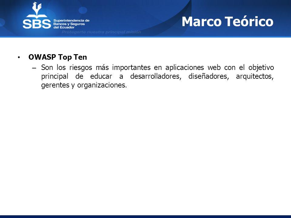 Marco Teórico OWASP Top Ten – Son los riesgos más importantes en aplicaciones web con el objetivo principal de educar a desarrolladores, diseñadores,