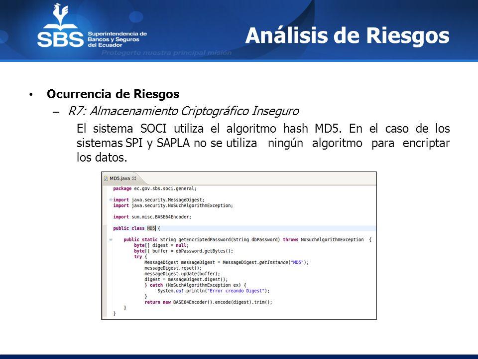 Análisis de Riesgos Ocurrencia de Riesgos – R7: Almacenamiento Criptográfico Inseguro El sistema SOCI utiliza el algoritmo hash MD5. En el caso de los