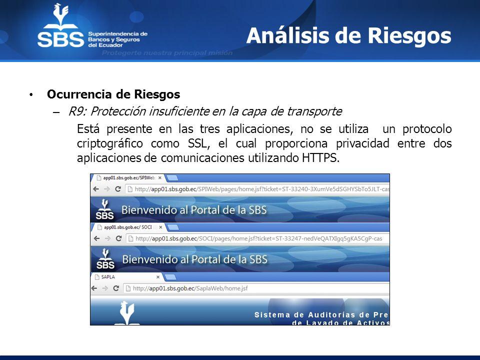 Análisis de Riesgos Ocurrencia de Riesgos – R9: Protección insuficiente en la capa de transporte Está presente en las tres aplicaciones, no se utiliza