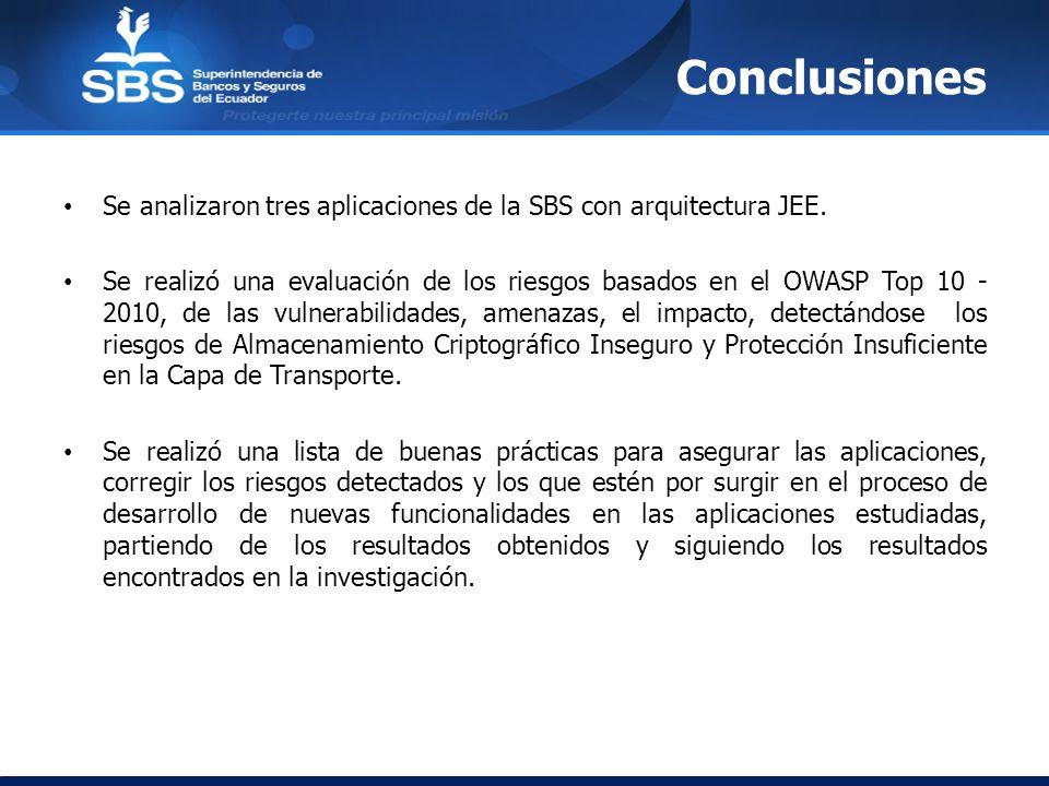 Conclusiones Se analizaron tres aplicaciones de la SBS con arquitectura JEE. Se realizó una evaluación de los riesgos basados en el OWASP Top 10 - 201
