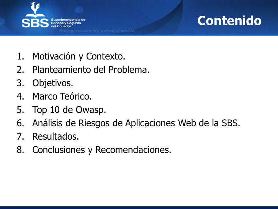 Contenido 1.Motivación y Contexto. 2.Planteamiento del Problema. 3.Objetivos. 4.Marco Teórico. 5.Top 10 de Owasp. 6.Análisis de Riesgos de Aplicacione