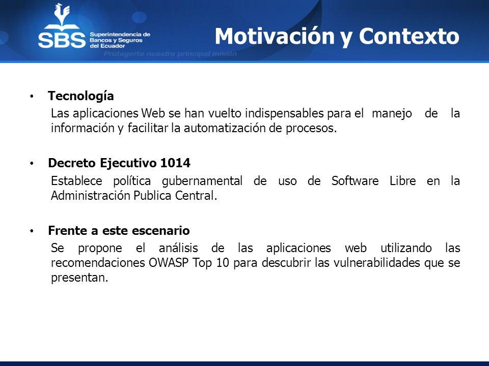 Motivación y Contexto Tecnología Las aplicaciones Web se han vuelto indispensables para el manejo de la información y facilitar la automatización de p