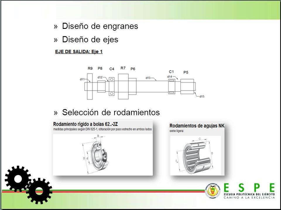 »Consideraciones adicionales de diseño - Pesos y volúmenes para determinar la vibración en los ejes - Diseño de chavetas Eje principal