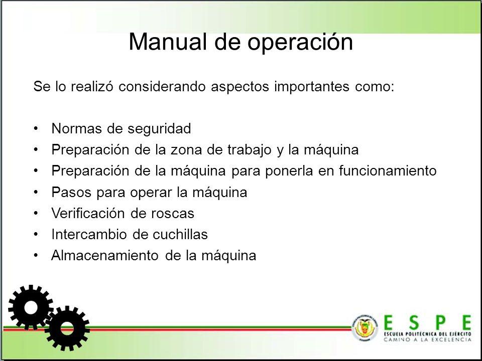 Manual de Mantenimiento Se lo realizó considerando cinco aspectos importantes: Inspección Limpieza Ajustes Lubricación Periodicidad del mantenimiento