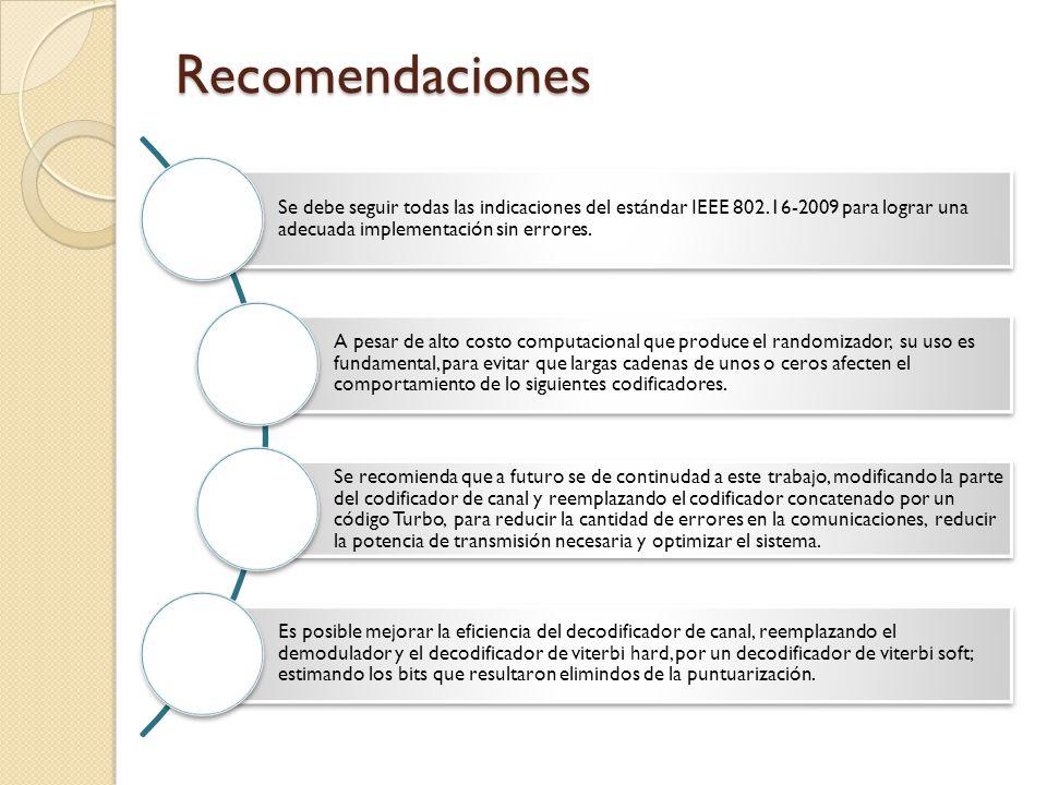Recomendaciones Se debe seguir todas las indicaciones del estándar IEEE 802.16-2009 para lograr una adecuada implementación sin errores. A pesar de al