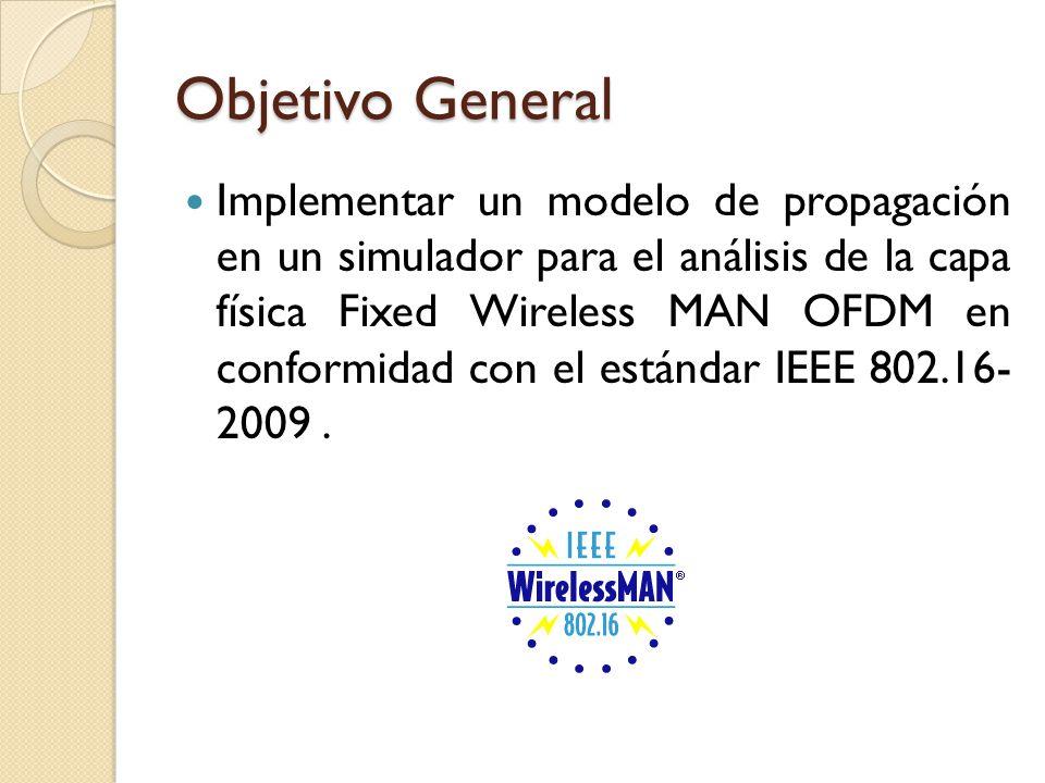Objetivo General Implementar un modelo de propagación en un simulador para el análisis de la capa física Fixed Wireless MAN OFDM en conformidad con el