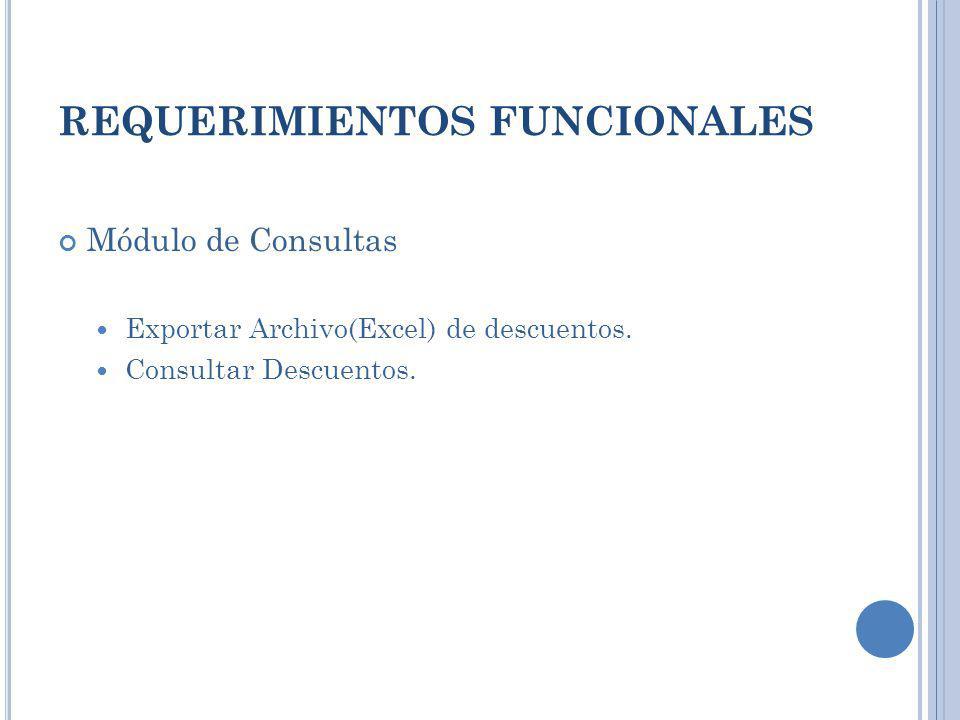 REQUERIMIENTOS FUNCIONALES Módulo de Consultas Exportar Archivo(Excel) de descuentos. Consultar Descuentos.