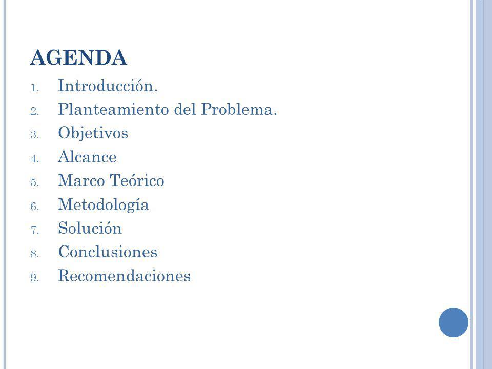 AGENDA 1. Introducción. 2. Planteamiento del Problema. 3. Objetivos 4. Alcance 5. Marco Teórico 6. Metodología 7. Solución 8. Conclusiones 9. Recomend