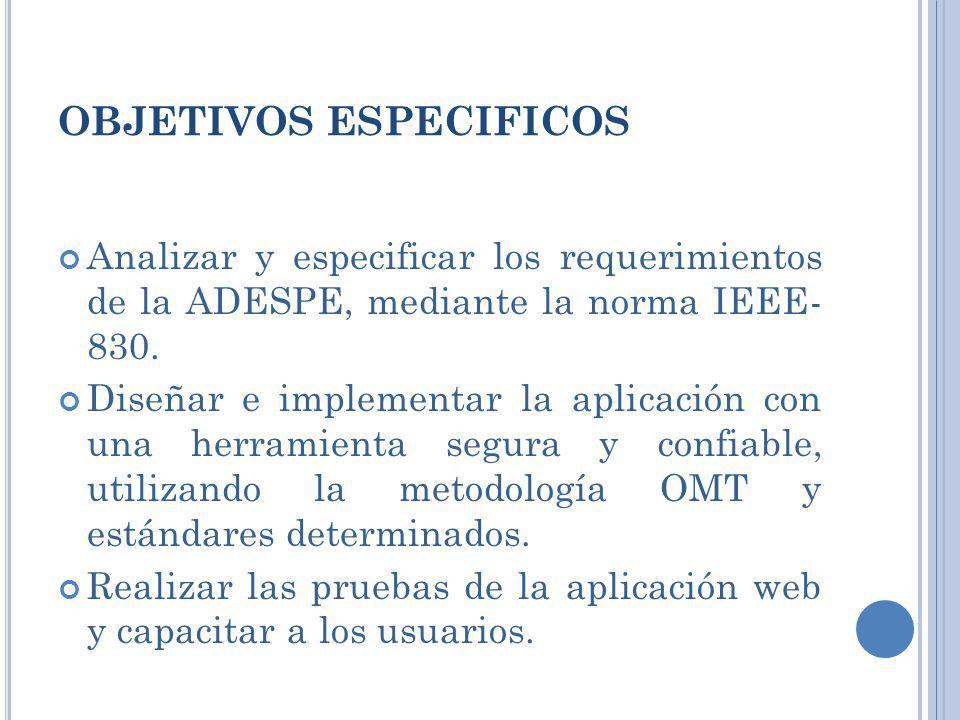 OBJETIVOS ESPECIFICOS Analizar y especificar los requerimientos de la ADESPE, mediante la norma IEEE- 830. Diseñar e implementar la aplicación con una