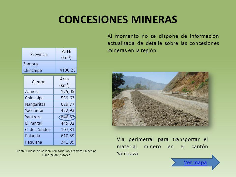 CONCESIONES MINERAS Al momento no se dispone de información actualizada de detalle sobre las concesiones mineras en la región.