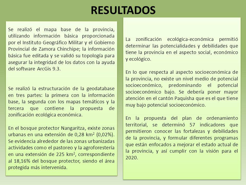 RESULTADOS Se realizó el mapa base de la provincia, utilizando información básica proporcionada por el Instituto Geográfico Militar y el Gobierno Provincial de Zamora Chinchipe; la información básica fue editada y se validó su topología para asegurar la integridad de los datos con la ayuda del software ArcGis 9.3.