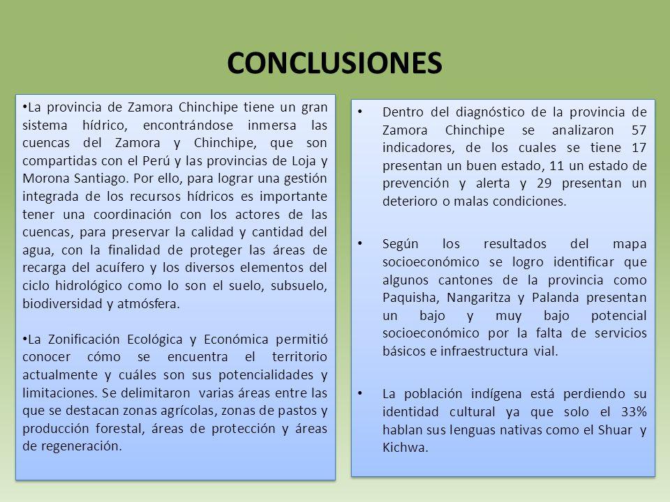 CONCLUSIONES La provincia de Zamora Chinchipe tiene un gran sistema hídrico, encontrándose inmersa las cuencas del Zamora y Chinchipe, que son compartidas con el Perú y las provincias de Loja y Morona Santiago.