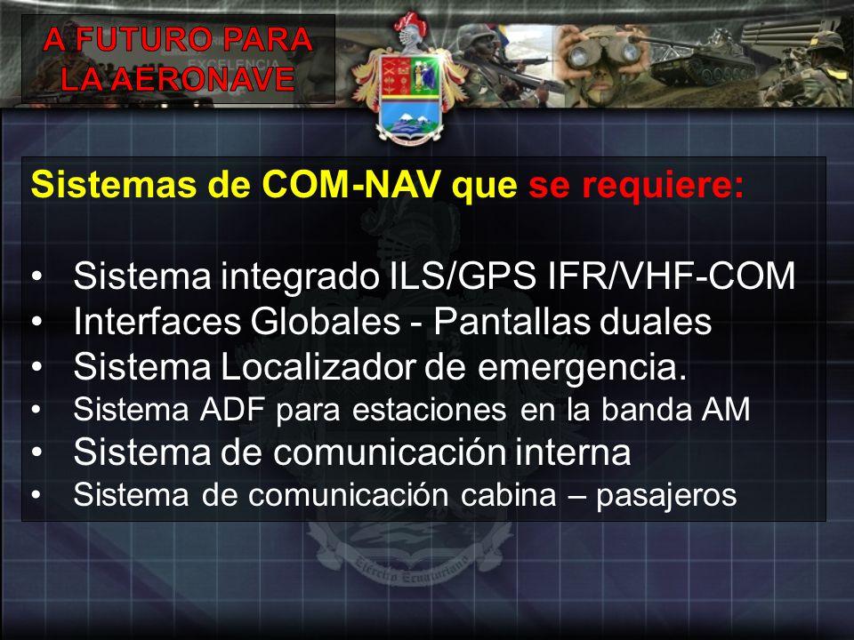 Sistemas de COM-NAV que se requiere: Sistema integrado ILS/GPS IFR/VHF-COM Interfaces Globales - Pantallas duales Sistema Localizador de emergencia. S