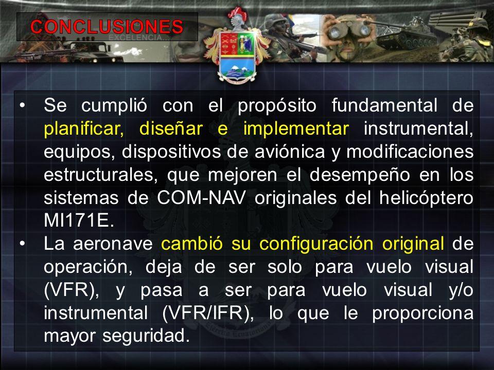 Se cumplió con el propósito fundamental de planificar, diseñar e implementar instrumental, equipos, dispositivos de aviónica y modificaciones estructu