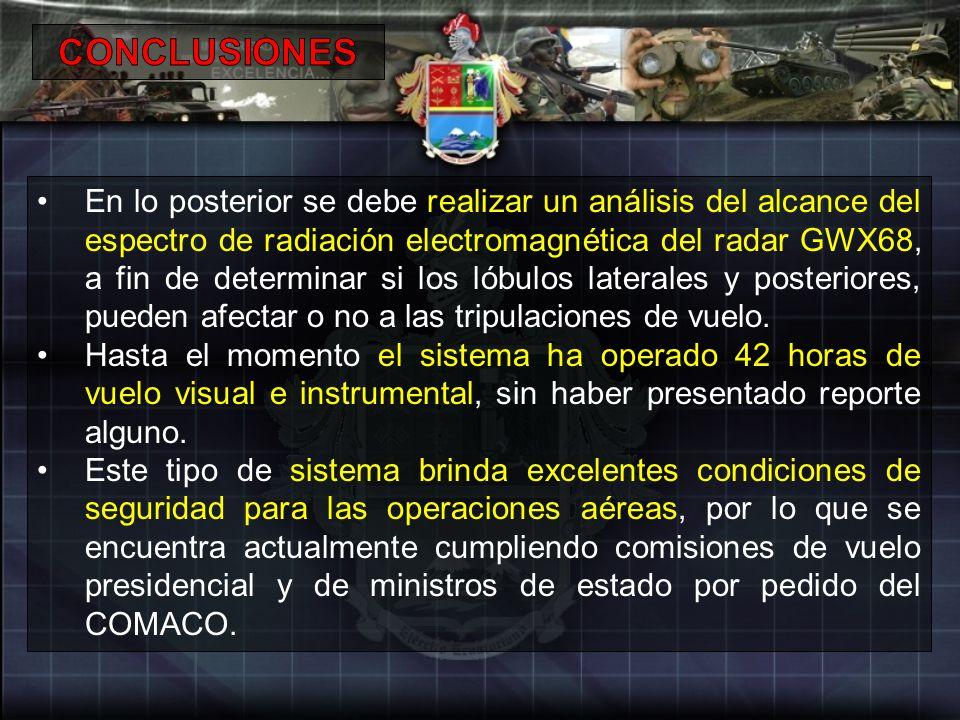 En lo posterior se debe realizar un análisis del alcance del espectro de radiación electromagnética del radar GWX68, a fin de determinar si los lóbulo