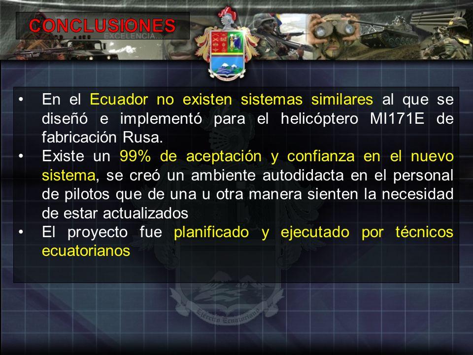 En el Ecuador no existen sistemas similares al que se diseñó e implementó para el helicóptero MI171E de fabricación Rusa. Existe un 99% de aceptación