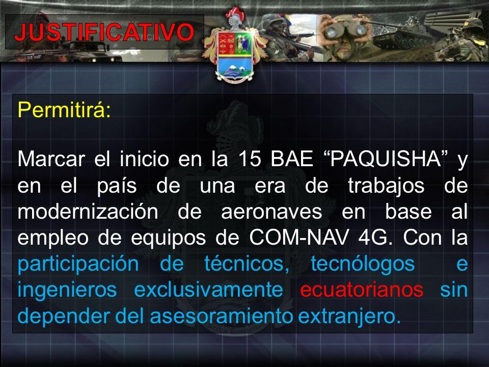 Permitirá: Marcar el inicio en la 15 BAE PAQUISHA y en el país de una era de trabajos de modernización de aeronaves en base al empleo de equipos de CO