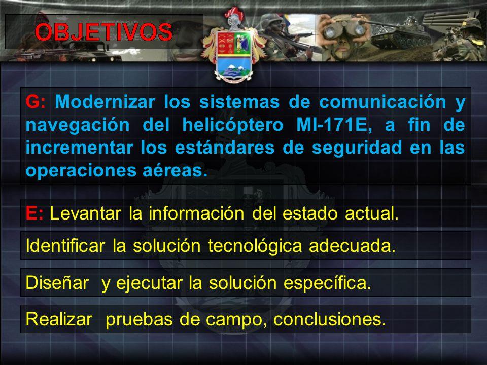 G: Modernizar los sistemas de comunicación y navegación del helicóptero MI-171E, a fin de incrementar los estándares de seguridad en las operaciones a