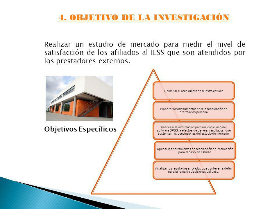 4. OBJETIVO DE LA INVESTIGACIÓN Realizar un estudio de mercado para medir el nivel de satisfacción de los afiliados al IESS que son atendidos por los