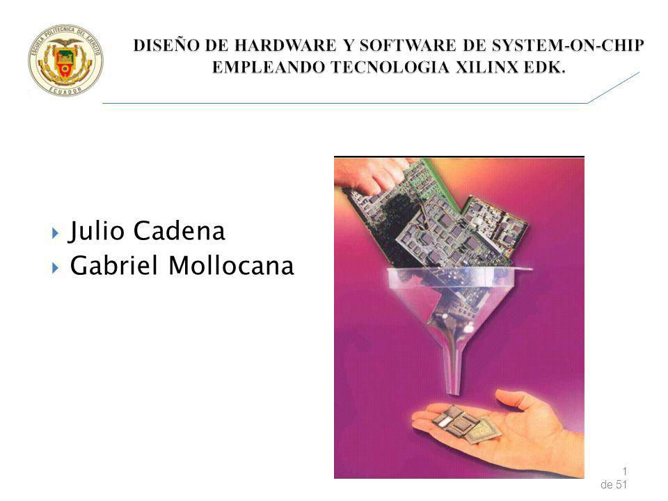 2 de 51 DISEÑO DE HARDWARE Y SOFTWARE DE SYSTEMS-ON-CHIP, EMPLEANDO TECNOLOGIA XILINX EDK ESTADO DEL ARTE XILINX SPARTAN-6 FPGA EMBEDDED KIT DISEÑO DE LA APLICACIÓN RESULTADOS OBTENIDOS CONCLUSIONES Y RECOMENDACIONES