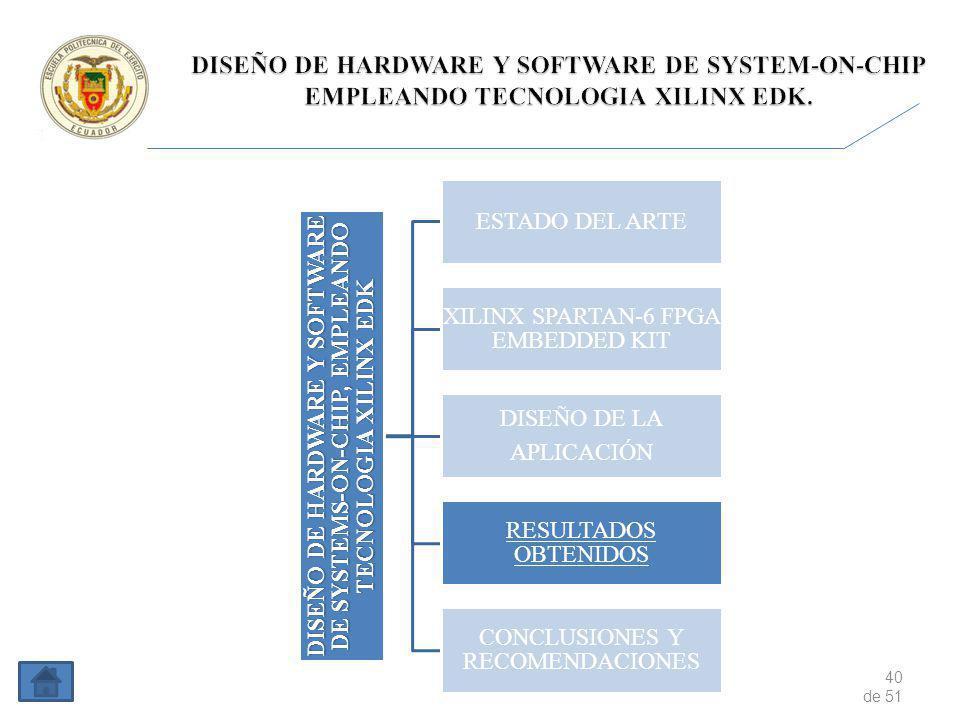 40 de 51 DISEÑO DE HARDWARE Y SOFTWARE DE SYSTEMS-ON-CHIP, EMPLEANDO TECNOLOGIA XILINX EDK ESTADO DEL ARTE XILINX SPARTAN-6 FPGA EMBEDDED KIT DISEÑO DE LA APLICACIÓN RESULTADOS OBTENIDOS CONCLUSIONES Y RECOMENDACIONES