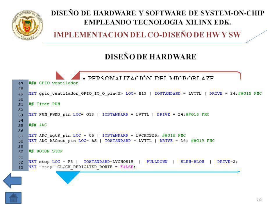 1 PERSONALIZACIÓN DEL MICROBLAZE PROCESSOR SUBSYSTEM 2 RESULTADO EN DIAGRAMA DE BLOQUES (VISTA RTL) 3 ASIGNACIÓN DE PINES DEL FPGA SPARTAN 6 EN EL ARCHIVO UCF 4 GENERACIÓN Y EXPORTACIÓN DEL BITSTREAM DE LA PLATAFORMA DE HARDWARE 55 NET DAC_out_pin LOC = E21 | IOSTANDAR = LVCMOS25; DAC_out_pin, es el nombre de la conexión externa.