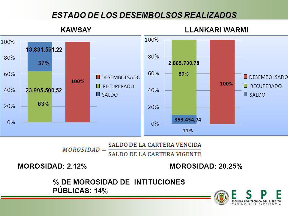 ESTADO DE LOS DESEMBOLSOS REALIZADOS DESEMBOLSADO SALDO RECUPERADO 100% DESEMBOLSADO SALDO RECUPERADO 100% 353.454,74 11% 2.885.730,78 89% KAWSAYLLANK