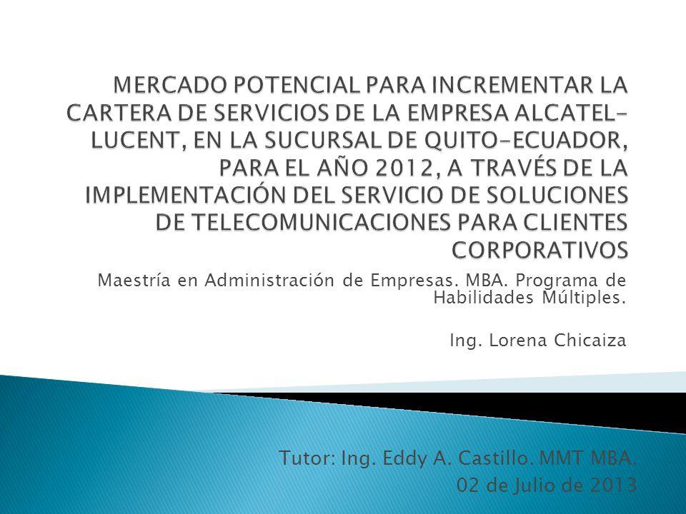 El mercado potencial más atractivo para el servicio de telecomunicaciones dirigido a clientes corporativos de la Empresa Alcatel-Lucent Ecuador es la industria de la Explotación de Minas y Canteras.