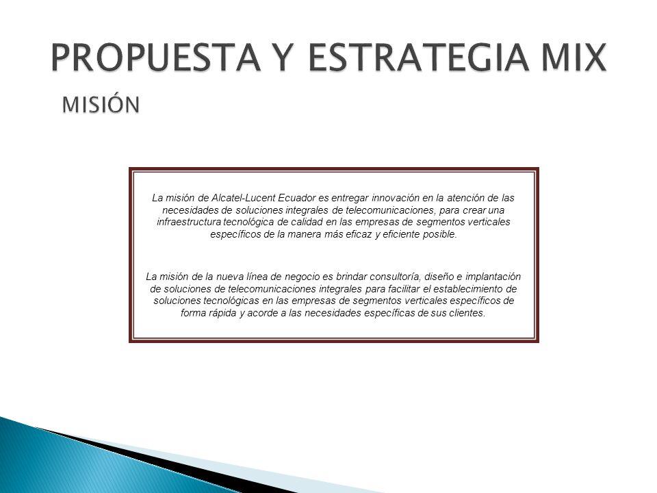 La misión de Alcatel-Lucent Ecuador es entregar innovación en la atención de las necesidades de soluciones integrales de telecomunicaciones, para crear una infraestructura tecnológica de calidad en las empresas de segmentos verticales específicos de la manera más eficaz y eficiente posible.