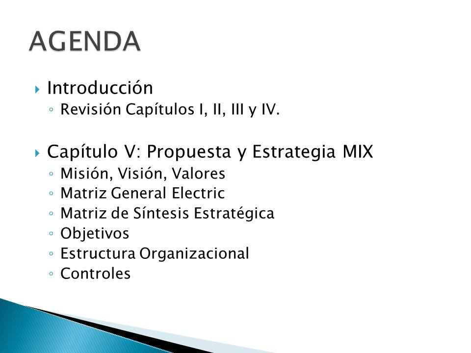 Introducción Revisión Capítulos I, II, III y IV. Capítulo V: Propuesta y Estrategia MIX Misión, Visión, Valores Matriz General Electric Matriz de Sínt