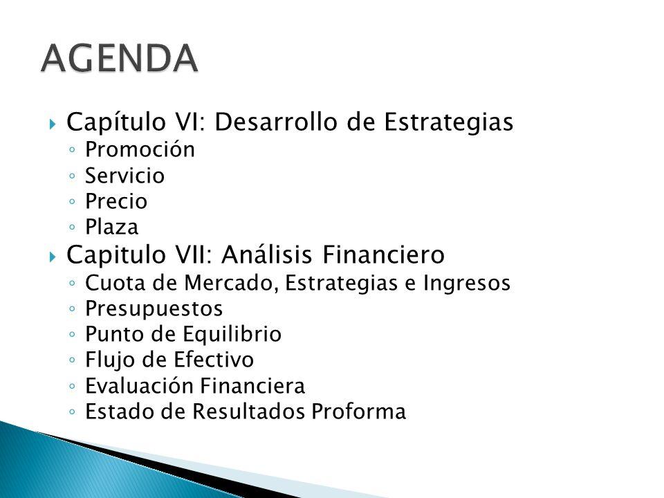 Capítulo VI: Desarrollo de Estrategias Promoción Servicio Precio Plaza Capitulo VII: Análisis Financiero Cuota de Mercado, Estrategias e Ingresos Presupuestos Punto de Equilibrio Flujo de Efectivo Evaluación Financiera Estado de Resultados Proforma