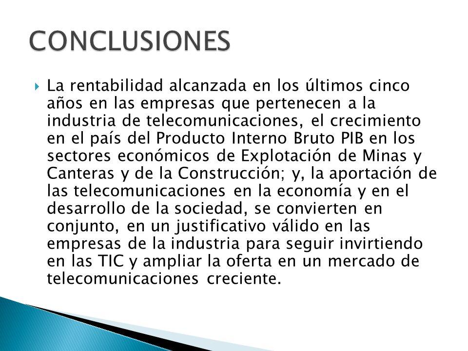 La rentabilidad alcanzada en los últimos cinco años en las empresas que pertenecen a la industria de telecomunicaciones, el crecimiento en el país del Producto Interno Bruto PIB en los sectores económicos de Explotación de Minas y Canteras y de la Construcción; y, la aportación de las telecomunicaciones en la economía y en el desarrollo de la sociedad, se convierten en conjunto, en un justificativo válido en las empresas de la industria para seguir invirtiendo en las TIC y ampliar la oferta en un mercado de telecomunicaciones creciente.