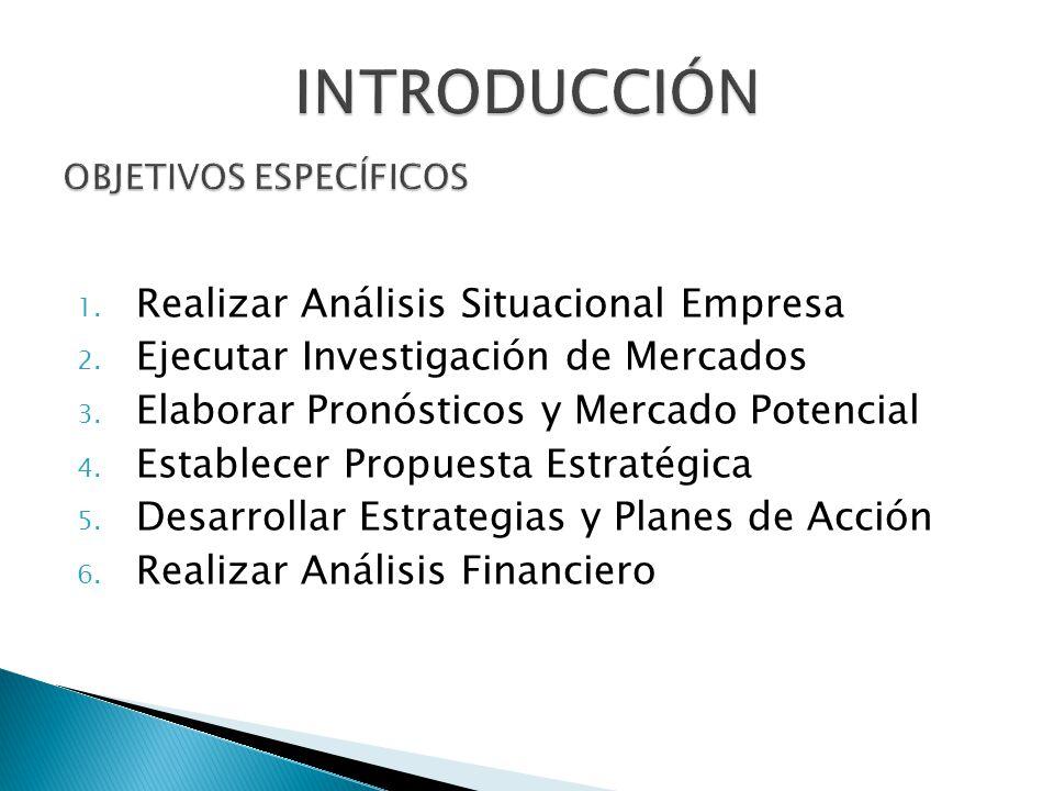 1. Realizar Análisis Situacional Empresa 2. Ejecutar Investigación de Mercados 3. Elaborar Pronósticos y Mercado Potencial 4. Establecer Propuesta Est