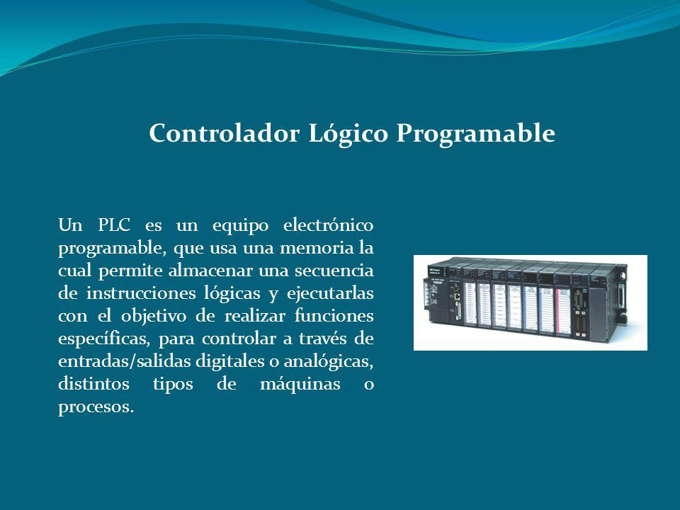 Un PLC es un equipo electrónico programable, que usa una memoria la cual permite almacenar una secuencia de instrucciones lógicas y ejecutarlas con el