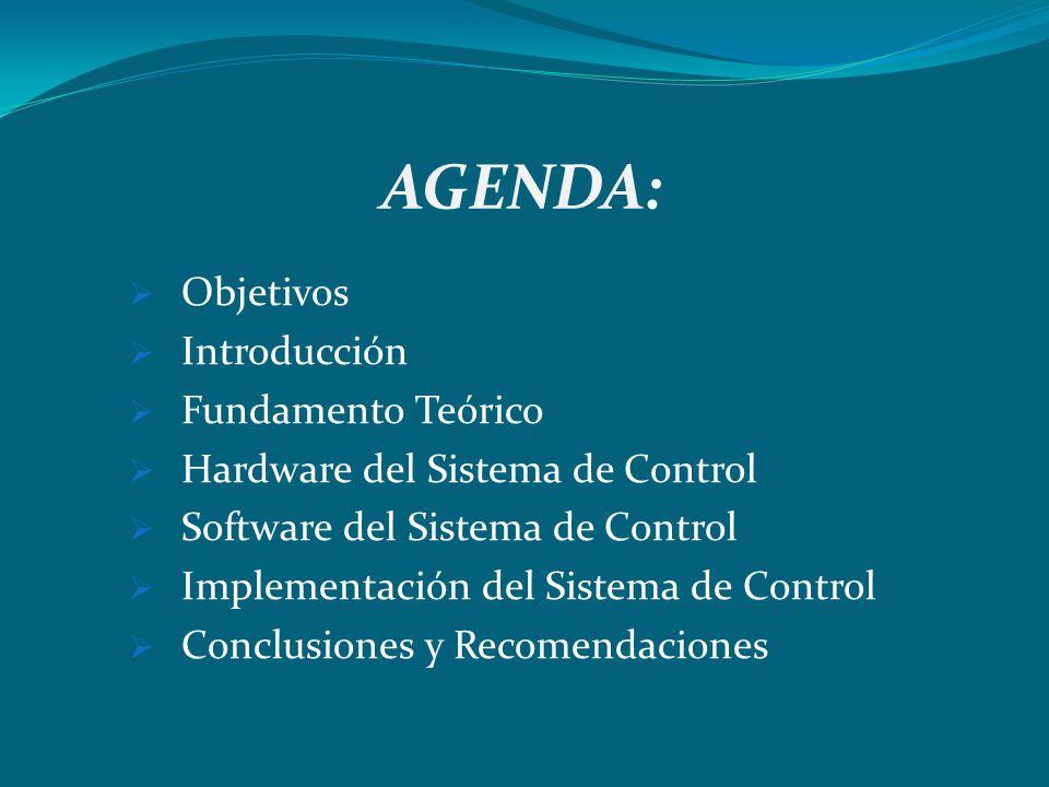 AGENDA: Objetivos Introducción Fundamento Teórico Hardware del Sistema de Control Software del Sistema de Control Implementación del Sistema de Contro