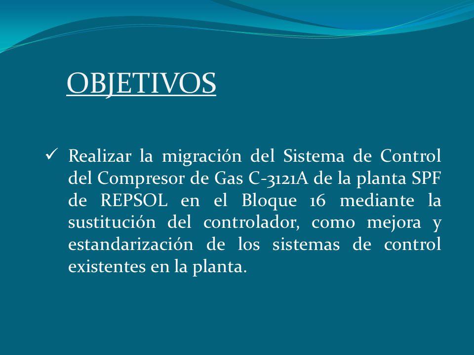 OBJETIVOS Realizar la migración del Sistema de Control del Compresor de Gas C-3121A de la planta SPF de REPSOL en el Bloque 16 mediante la sustitución