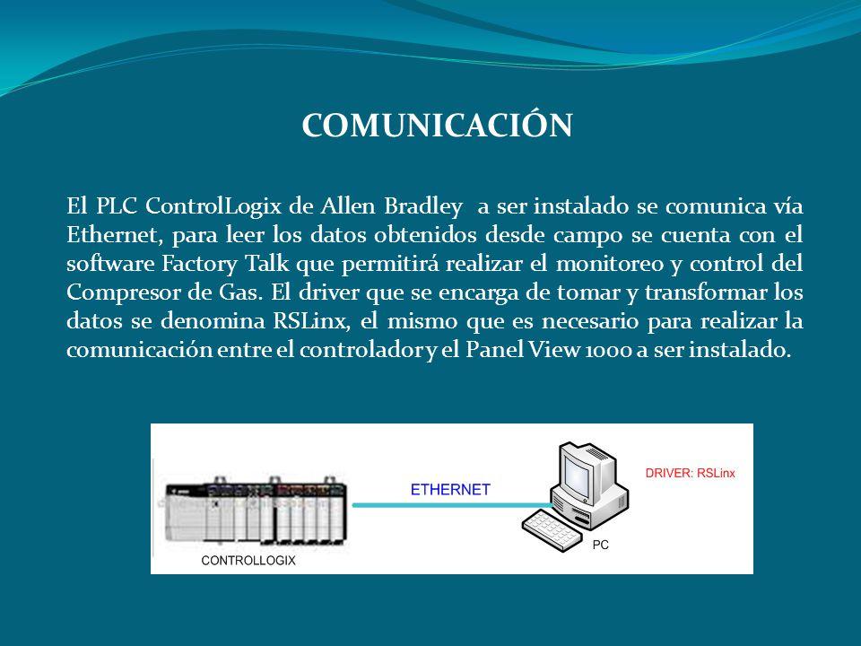 El PLC ControlLogix de Allen Bradley a ser instalado se comunica vía Ethernet, para leer los datos obtenidos desde campo se cuenta con el software Fac