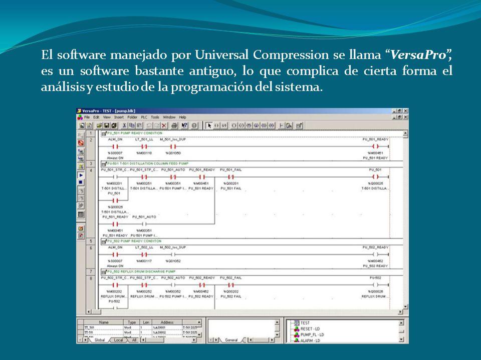 El software manejado por Universal Compression se llama VersaPro, es un software bastante antiguo, lo que complica de cierta forma el análisis y estud