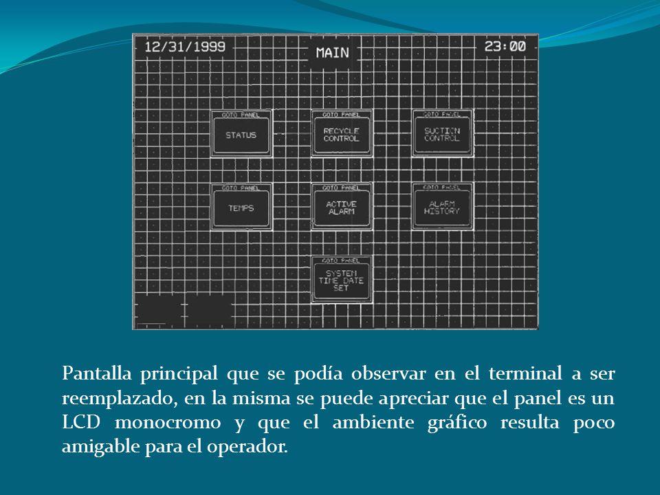 Pantalla principal que se podía observar en el terminal a ser reemplazado, en la misma se puede apreciar que el panel es un LCD monocromo y que el amb
