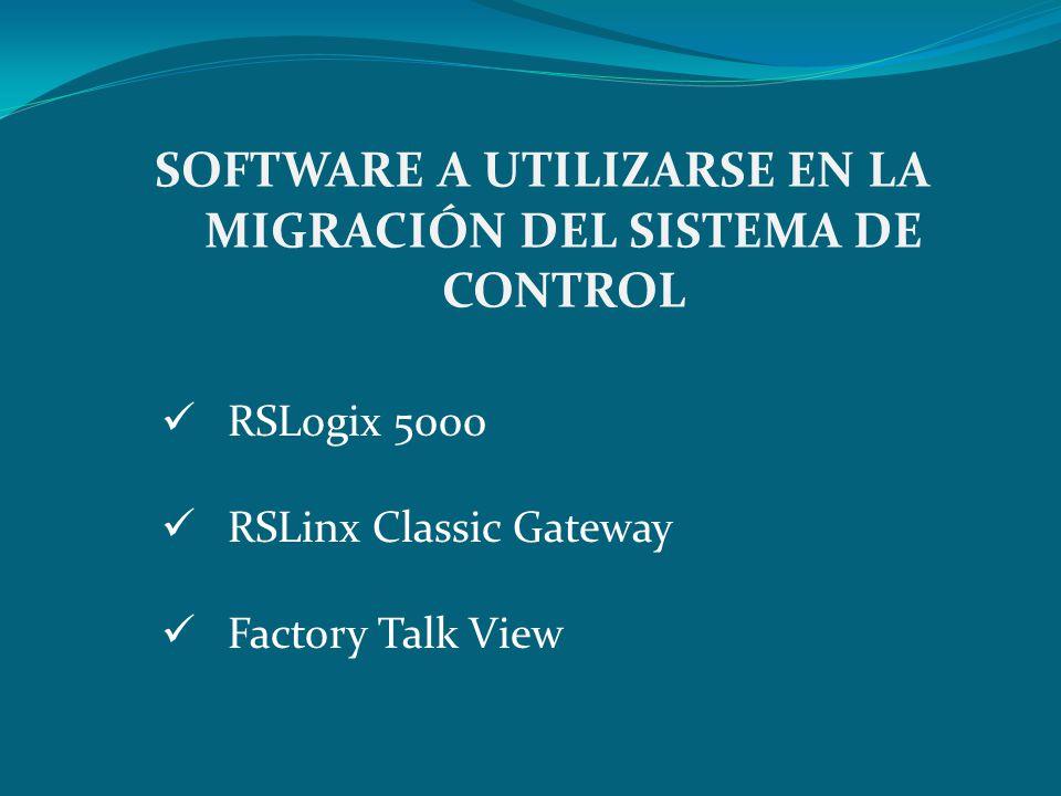 SOFTWARE A UTILIZARSE EN LA MIGRACIÓN DEL SISTEMA DE CONTROL RSLogix 5000 RSLinx Classic Gateway Factory Talk View