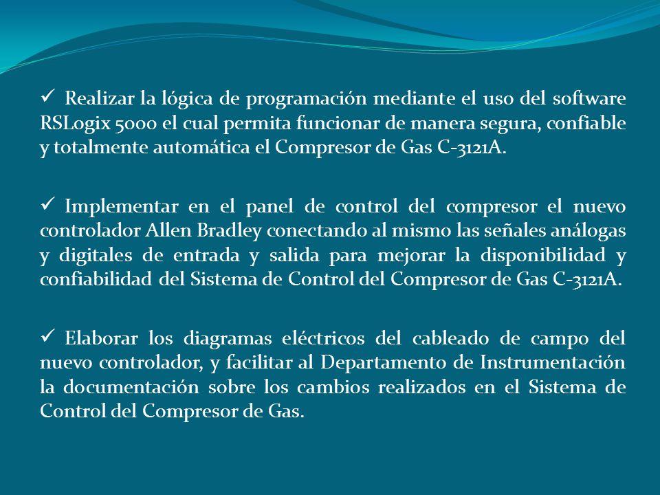 Realizar la lógica de programación mediante el uso del software RSLogix 5000 el cual permita funcionar de manera segura, confiable y totalmente automá