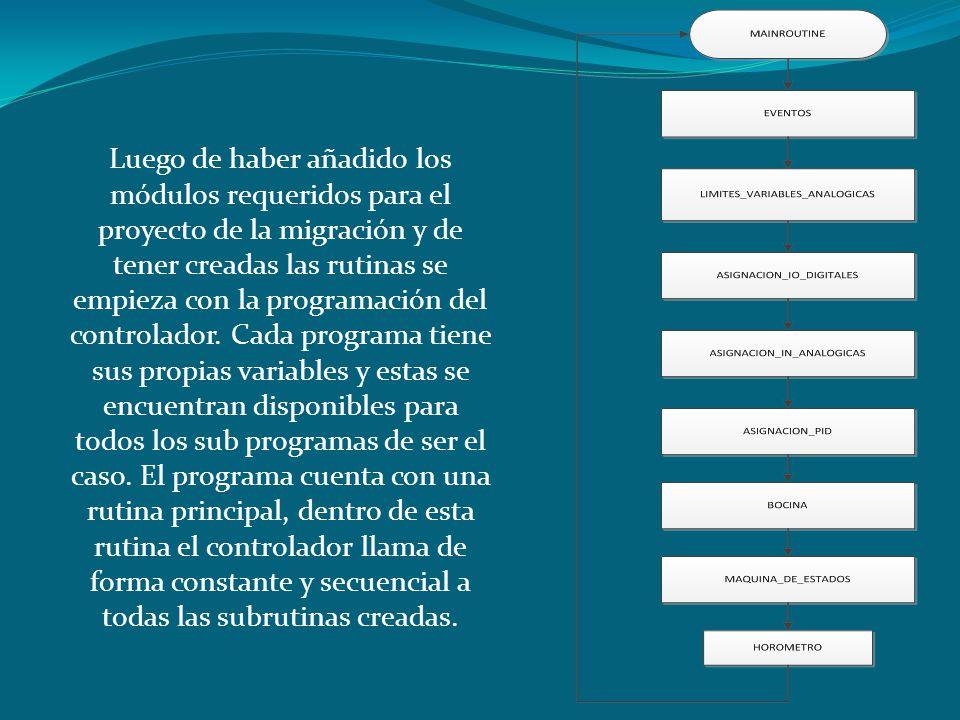 Luego de haber añadido los módulos requeridos para el proyecto de la migración y de tener creadas las rutinas se empieza con la programación del contr