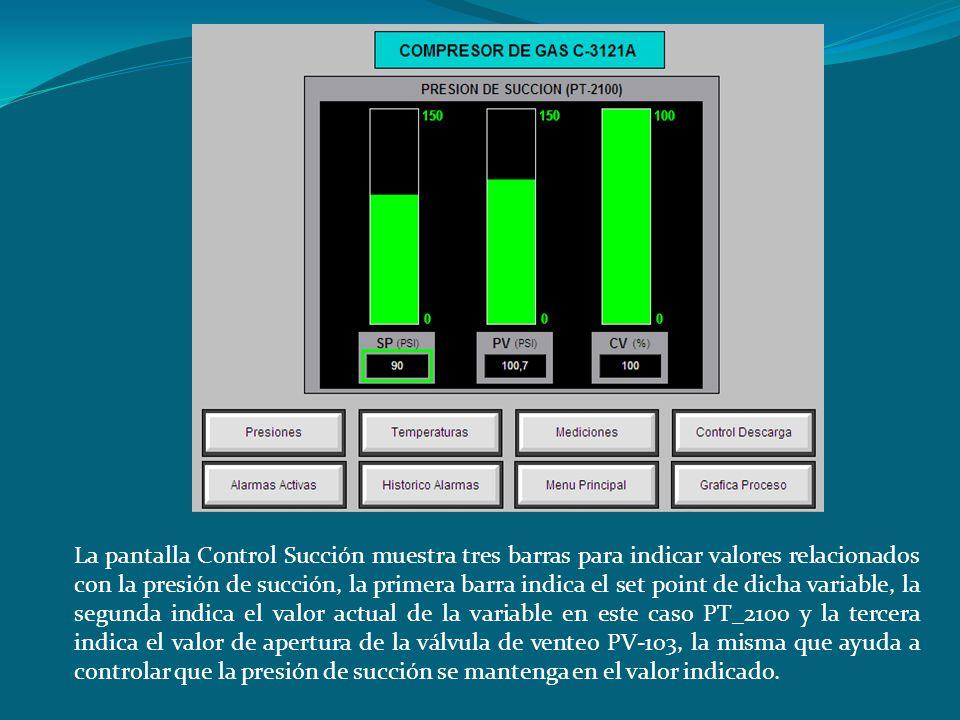 La pantalla Control Succión muestra tres barras para indicar valores relacionados con la presión de succión, la primera barra indica el set point de d