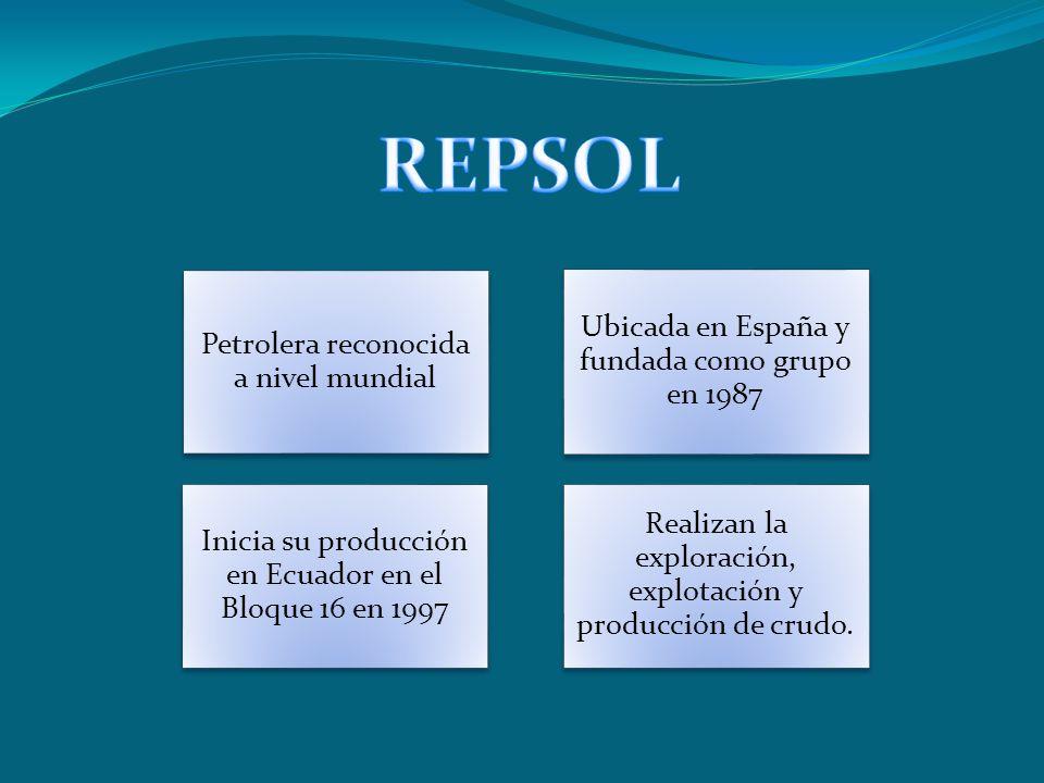 Petrolera reconocida a nivel mundial Ubicada en España y fundada como grupo en 1987 Inicia su producción en Ecuador en el Bloque 16 en 1997 Realizan l