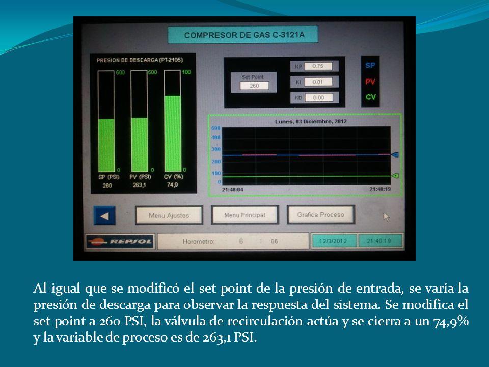 Al igual que se modificó el set point de la presión de entrada, se varía la presión de descarga para observar la respuesta del sistema. Se modifica el