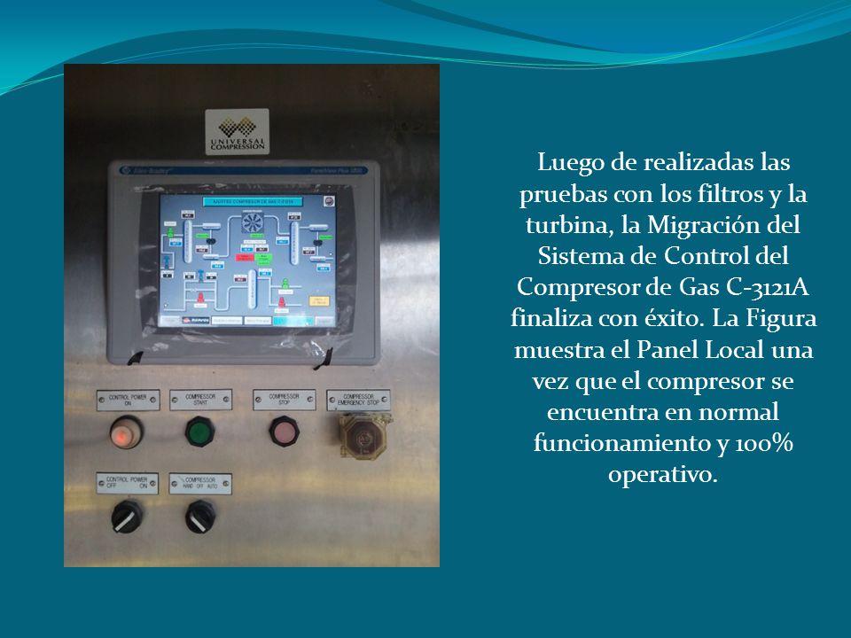 Luego de realizadas las pruebas con los filtros y la turbina, la Migración del Sistema de Control del Compresor de Gas C-3121A finaliza con éxito. La