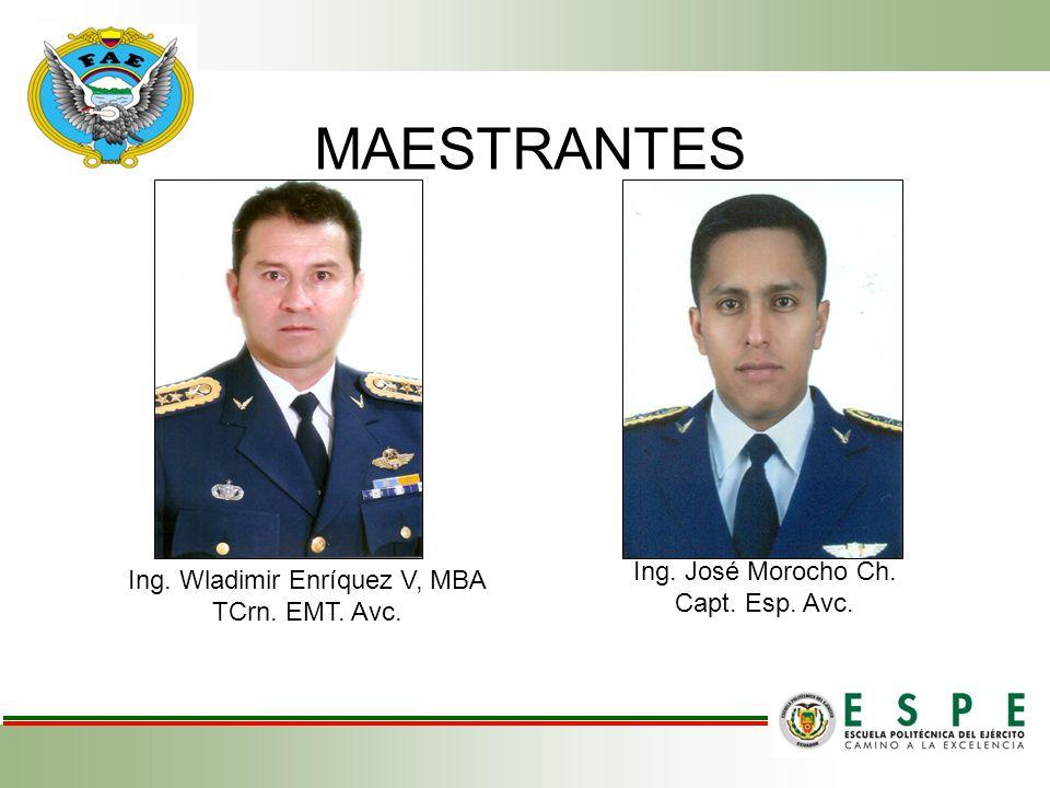 MAESTRANTES Ing. Wladimir Enríquez V, MBA TCrn. EMT. Avc. Ing. José Morocho Ch. Capt. Esp. Avc.