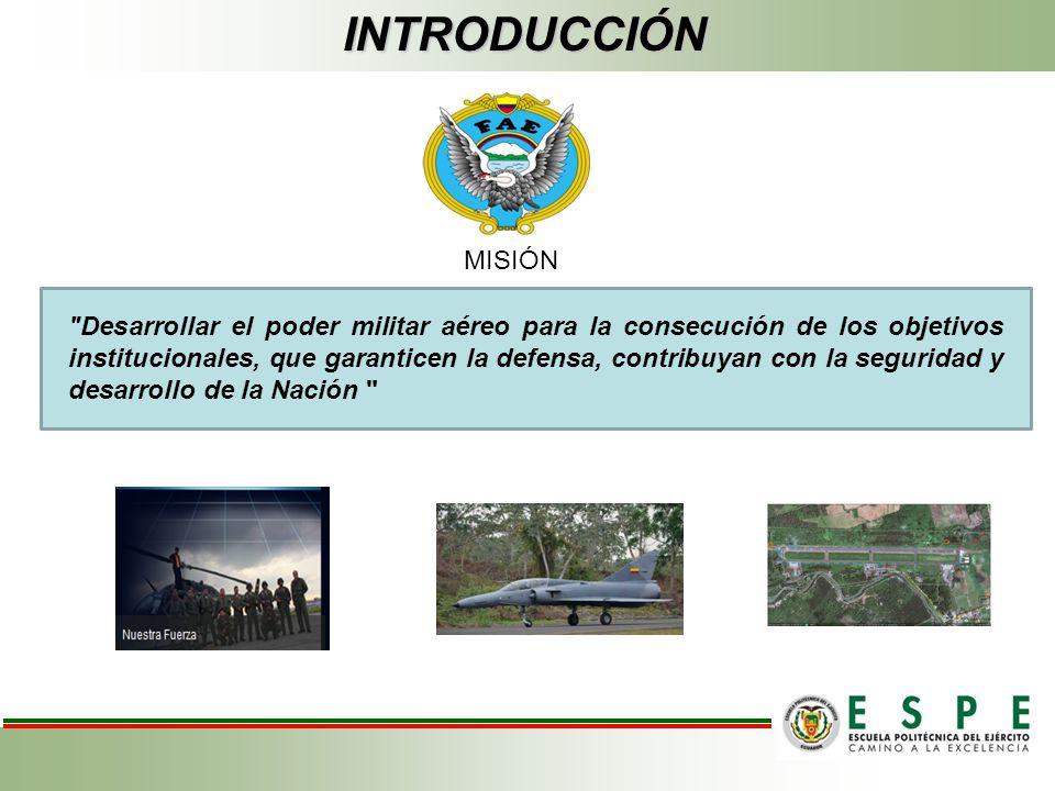 INTRODUCCIÓN Desarrollar el poder militar aéreo para la consecución de los objetivos institucionales, que garanticen la defensa, contribuyan con la seguridad y desarrollo de la Nación MISIÓN
